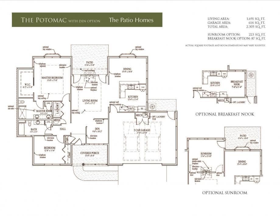 Potomac Floor Plan with Den