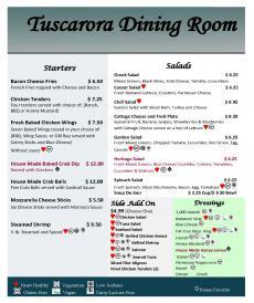 Tuscarora Dining Room Menu