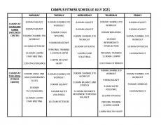July 2021 Fitness Calendar