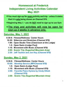 Independent Living May Activity Calendar